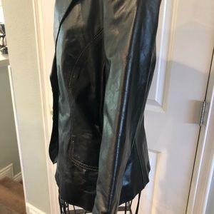 June Jackets & Coats - black moto leather 3/4 sleeve blazer size M